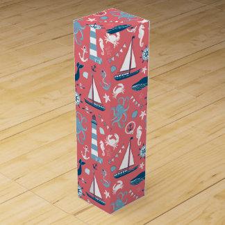 Nautical Ocean Rose Wine Gift Box