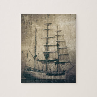 Nautical Ocean Sea Vintage Sailing sailboat Jigsaw Puzzle