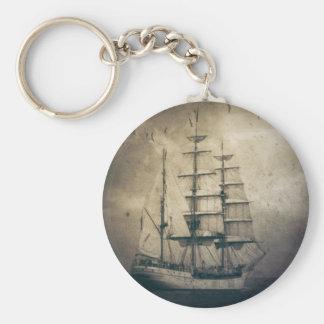 Nautical Ocean Sea Vintage Sailing sailboat Keychain