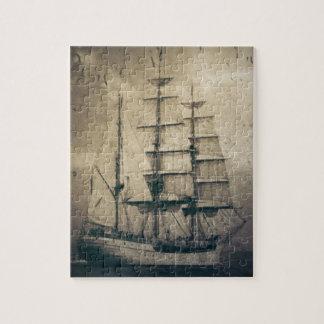 Nautical Ocean Sea Vintage Sailing sailboat Puzzle