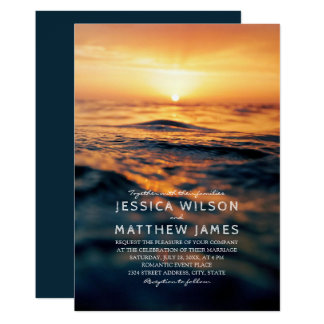 Nautical Ocean Sunset Beach Themed Wedding Card