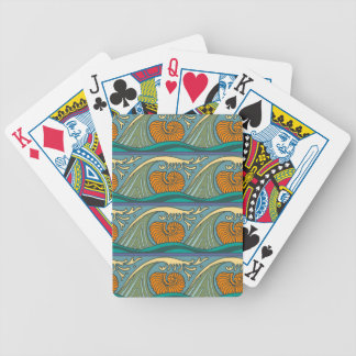 Nautical Ocean Wave pattern Poker Deck