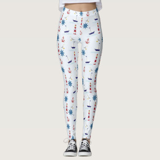 Nautical Oceanic Anchors and Lighthouses Leggings