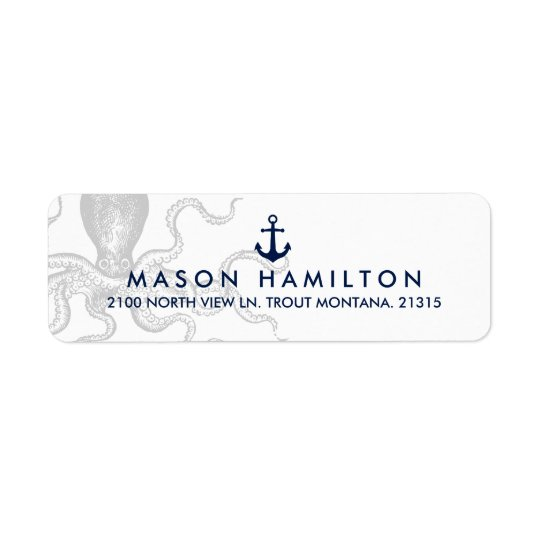Nautical Octopus with Anchor | Return Address Return Address Label