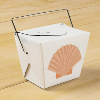 Nautical Orange Seashell Beach Wedding Party Favor Boxes