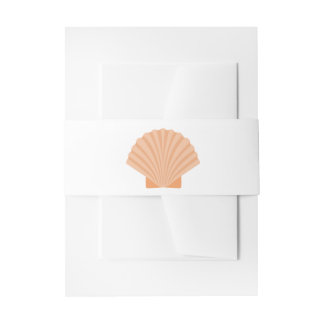 Nautical Orange Seashell Wedding - Shells Invitation Belly Band