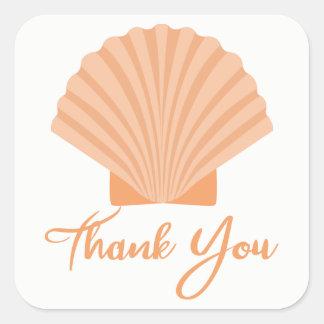 Nautical Orange Thank You Seashell Beach Wedding Square Sticker