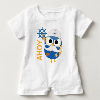 Nautical Owl with Ships Wheel Baby Romper