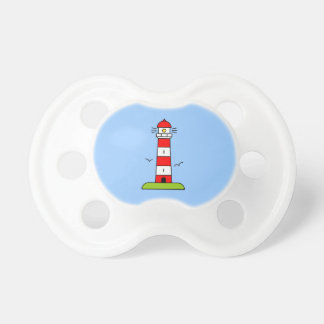 Nautical pacifiers | striped lighthouse cartoon