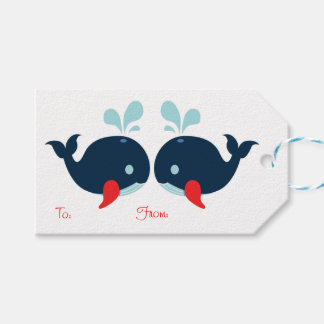 Nautical Party Whales Navy Blue, Red Wedding Beach Gift Tags