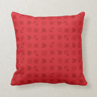 Nautical Pattern Boat, anchor, compass, Red Throw Pillow