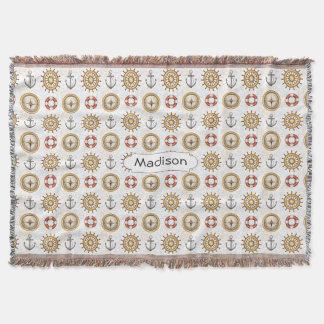 Nautical Pattern custom name throw blanket
