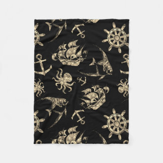 Nautical pattern fleece blanket