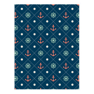 Nautical Pattern Navy Anchor Helm Wheel Sail Postcard