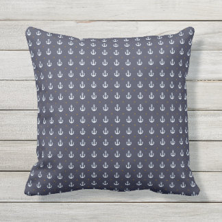 nautical pattern of anchors blue outdoor pillow