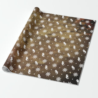Nautical pattern on amber texture wrapping paper
