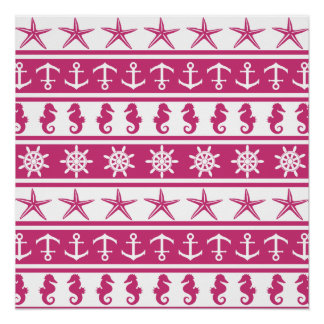Nautical pattern on custom backgroun color poster