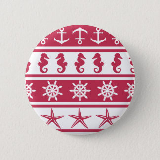 Nautical pattern on custom background color 2 inch round button