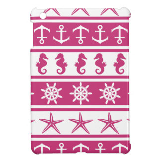 Nautical pattern on custom background color iPad mini cover
