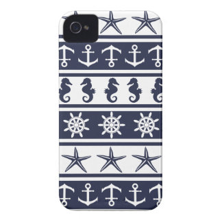 Nautical pattern on custom background color iPhone 4 case