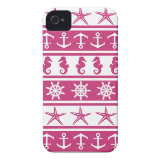 Nautical pattern on custom background color iPhone 4 Case-Mate case
