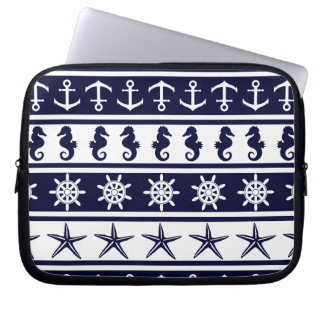 Nautical pattern on custom background color laptop sleeve