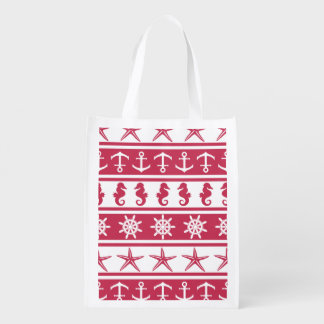 Nautical pattern on custom background color reusable grocery bag