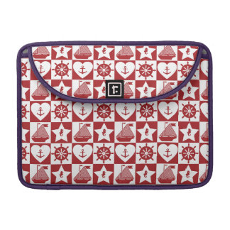Nautical pattern on custom background color sleeve for MacBook pro