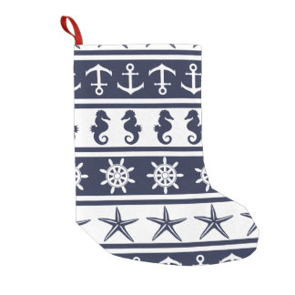 Nautical pattern on custom background color small christmas stocking