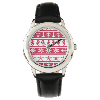 Nautical pattern on custom background color watch