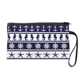 Nautical pattern on custom background color wristlet