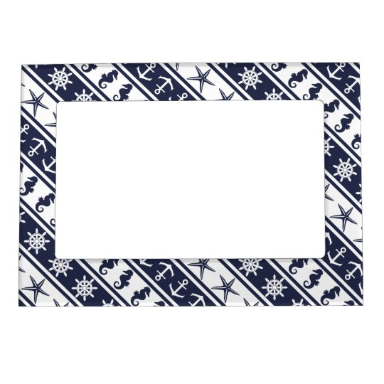 Nautical pattern on custom background colour magnetic picture frame