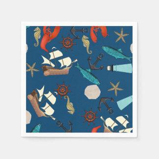 Nautical Pattern On Navy Blue Paper Napkin