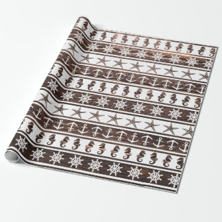 Nautical pattern on wood wrapping paper