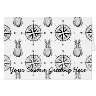 Nautical Pattern Wind Rose Squid Card
