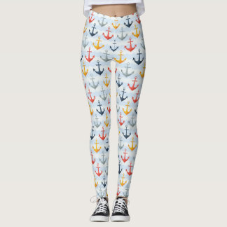 Nautical Pattern with Anchors Leggings