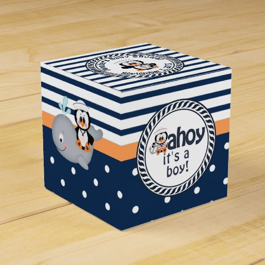 Nautical Penguin and Whale Baby Shower Favor Box