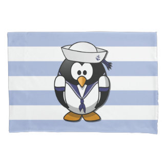 Nautical Penguin Striped Pillowcase