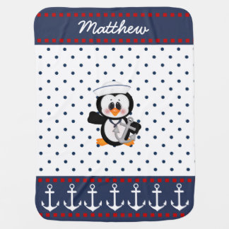 Nautical Penguin with Anchor Swaddle Blankets