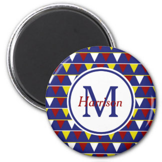 Nautical Pennants on Blue Monogram 2 Inch Round Magnet