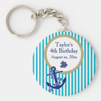 Nautical Personalized Birthday Party Keychain