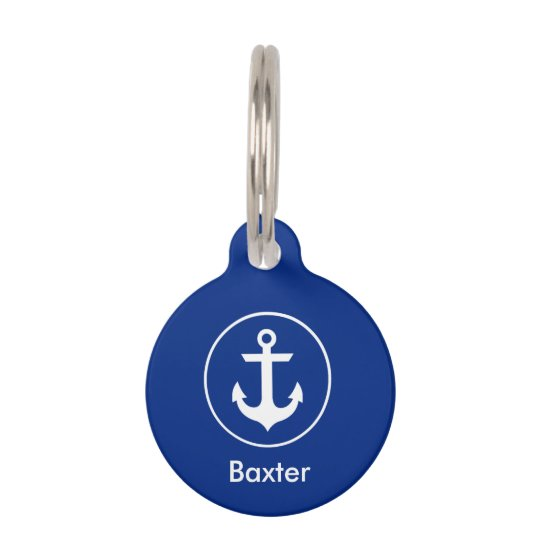 Nautical Personalized Dog Tag-Phone on Back Blue Pet ID Tag