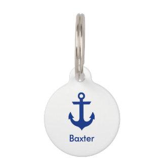 Nautical Personalized Dog Tag-Phone on Back White Pet Name Tag