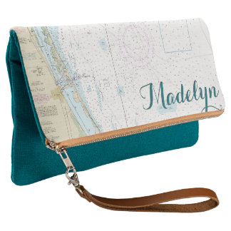 Nautical Personalized Fort Pierce FL Teal & Tan Clutch