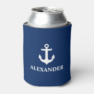 Nautical Personalized Name Anchor Navy Blue Can Cooler