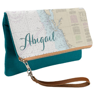 Nautical Personalized Southwest Florida Chart Clutch