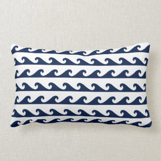 Nautical Pillow Navy Blue Waves