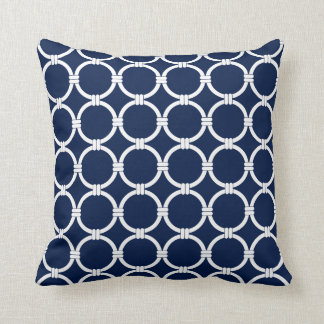 Nautical Pillows, Blue and White, Chain Pattern Throw Pillow