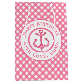 Nautical Pink Anchor Gingham Birthday Gift Bag