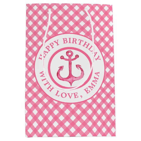 Nautical Pink Anchor Plaid Birthday Gift Bag